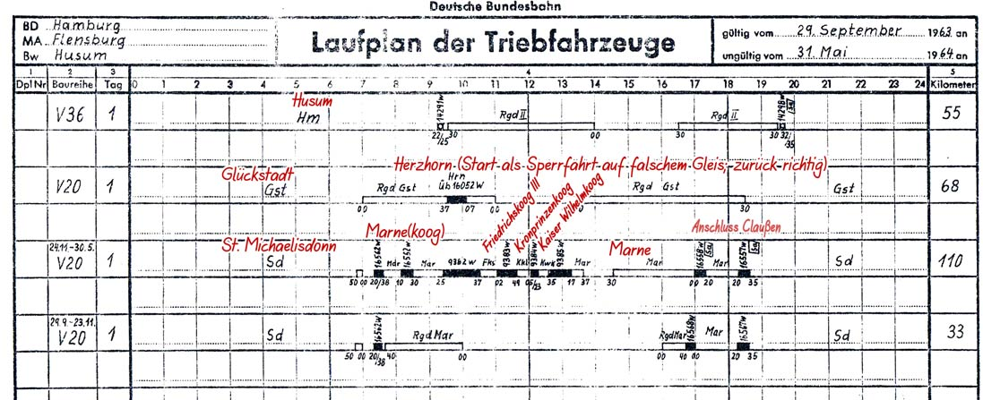 Laufplan V 20 und V 36 Bw Husum
